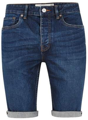 Topman Mens Bright Blue Wash Stretch Skinny Shorts
