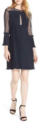 CAARA Pleated Sheer Sleeve A-Line Dress