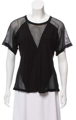 Alexander Wang Mesh-Accented Short Sleeve T-Shirt