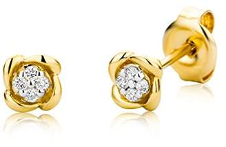 At Co Uk Miore Women S 9ct Yellow Gold Small Diamond Stud Earrings Mg9159e