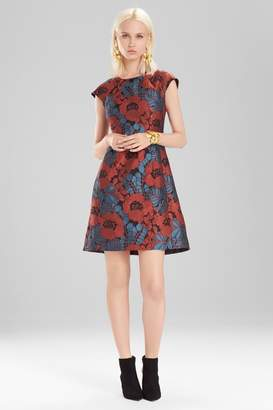 Josie Natori Novelty Jacquard Cap Sleeve Dress