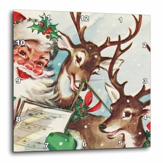 3dRose Santa and the Singing Reindeer Vintage, Wall Clock, 13 by 13-inch