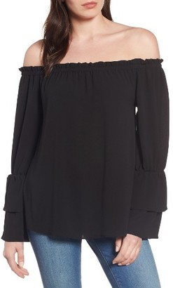 Women's Bobeau Tiered Bell Sleeve Off The Shoulder Top $49 thestylecure.com
