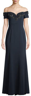 Badgley Mischka Off-the-Shoulder Gown w/ Embellished Collar