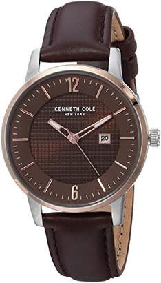 Kenneth Cole New York Quartz Stainless Steel and Leather Casual Watch