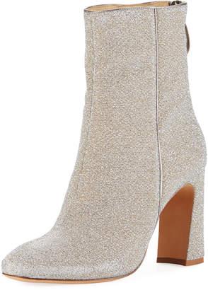 Alexandre Birman Corella Metallic Fabric Block-Heel Boot