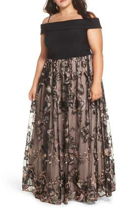 Morgan & Co. Cold Shoulder Gown with Embroidered Skirt