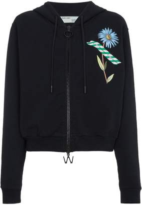 Off-White zip front floral tape print hoodie