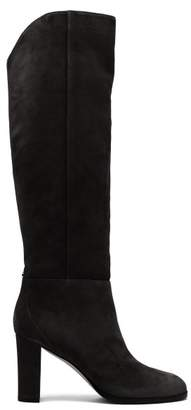 Jimmy Choo Madalie 80 Knee High Suede Boots - Womens - Navy