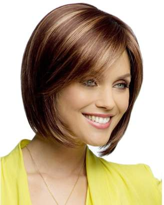 styling/ QianBaiHui Wigs for Women - Short Straight Wig Brown Natural Synthetic Hair Wig
