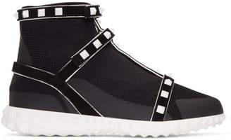 Valentino Black Garavani Studded Knit Sock High-Top Sneakers