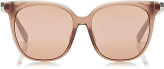 Jimmy Choo WILMA Pink Flash Silver Square Sunglasses with Nude Frame
