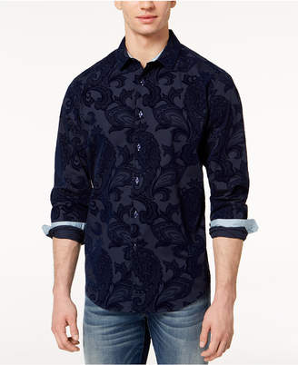 INC International Concepts I.n.c. Men Flocked Paisley Shirt