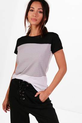 boohoo Petite Colour Block Stripe T-Shirt