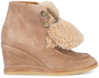 Chloé Peggy shearling wedge boots