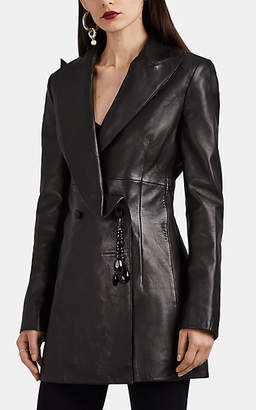 Area Women's Crystal-Embellished Leather Blazer-Style Jacket - Black