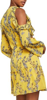 BCBGMAXAZRIA Floral Ruffle Cold-Shoulder Dress