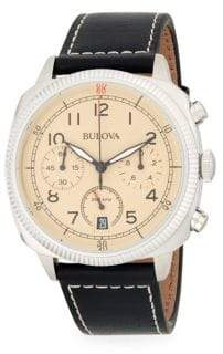 Bulova Military Stainless Steel and Leather-Strap Watch