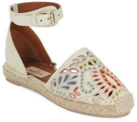 Valentino Embroidered Leather Espadrille Flats