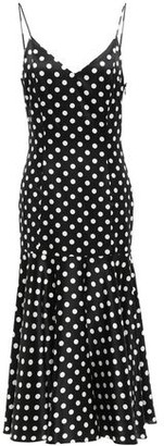 Caroline Constas Kai Polka-dot Stretch-silk Satin Midi Slip Dress