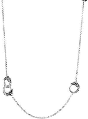 John Hardy Brushed Sterling Silver Legends Naga Round Chain Necklace with Black Spinel, 36""