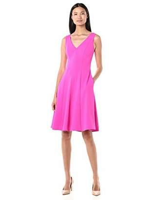 Donna Morgan Women's Sleeveless V-Neck Flare Skirt Crepe Dress