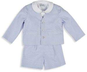 Florence Eiseman Baby's Eton Peter Pan Collar Shirt, Stripe Cotton Jacket and Shorts Set