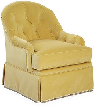 One Kings Lane Marlowe Swivel Club Chair - Canary Velvet