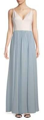 Vera Wang Long Pleated Flare Dress