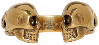 Alexander McQueen Gold Twin Skull and Snake Ring