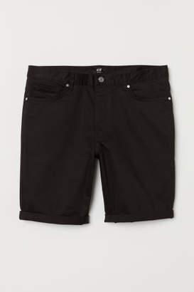 H&M Slim Fit Cotton Shorts - Black
