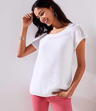 LOFT Pointelle Flare Sleeve Sweater