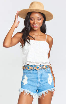 Show Me Your Mumu Kiss Crop Top ~ White Everlasting Lace