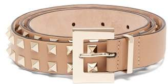 Valentino Rockstud Skinny Leather Belt - Womens - Camel