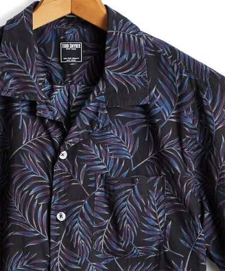 Todd Snyder Short Sleeve Floral Leaf Camp Collar Shirt in Black