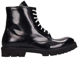 Low Brand Black Leather Combat Boots