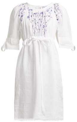 Thierry Colson Tatiana Floral Embroidered Cotton Dress - Womens - White Navy