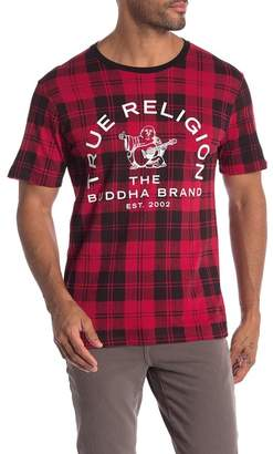 True Religion Allover Plaid Crew Neck Tee