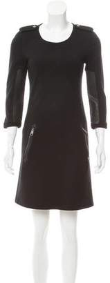 Burberry Wool Leather-Trimmed Dress