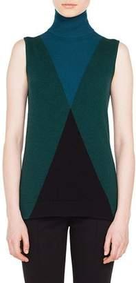 Akris Punto Sleeveless Argyle Pattern Wool-Cashmere Turtleneck Sweater