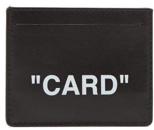 Off-White Quote Leather Cardholder - Mens - Black White