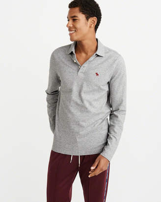 Abercrombie & Fitch Long-Sleeve Stretch Icon Polo