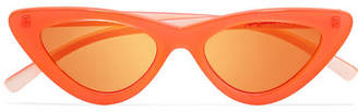 Le Specs Adam Selman The Last Lolita Cat-eye Neon Acetate Mirrored Sunglasses - Orange