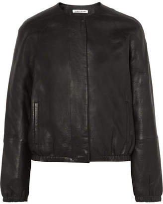 Elizabeth and James Tinley Textured-leather Bomber Jacket - Black