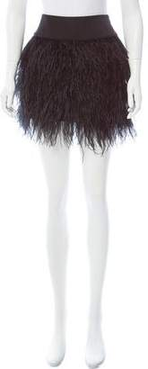 Jay Godfrey Feather- Accented Mini Skirt
