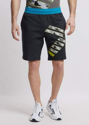 Emporio Armani Ea7 Train Graphic Shorts In Baby French Terry Cotton With Logo
