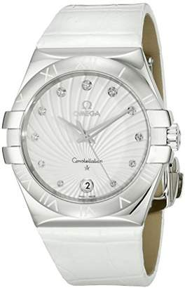 Omega Women's 123.13.35.60.52.001 Constellation Diamond-Accented Stainless Steel Watch with Leather Band
