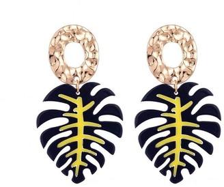 Jon Richard Jewellery Gold And Blue Leaf Drop Pendant Earrings