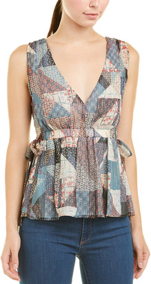 BCBGMAXAZRIA Side Tie Silk-Blend Top
