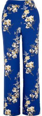 River IslandRiver Island Womens Blue floral print wide leg pants